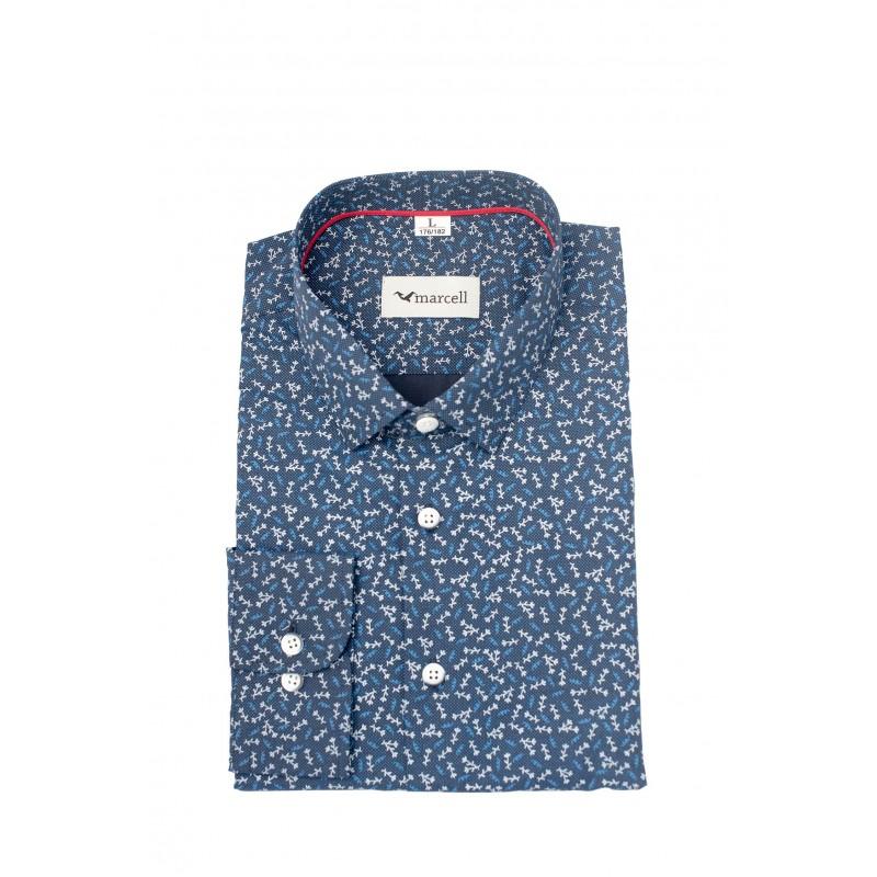 Granatowa koszula męska w gałązki A85  IvFdz